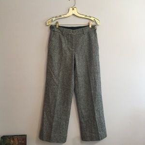 Tory Burch Grey Metallic Wool Flare Leg Pant 2